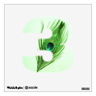 Green Peacock Feather on Green 3 Wall Decal