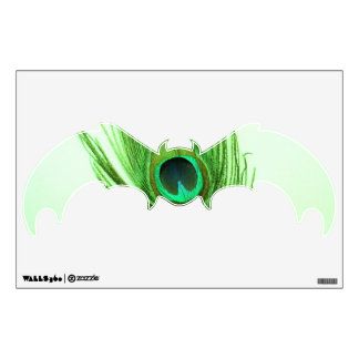 Green Peacock Feather on Green Bat Wall Decal