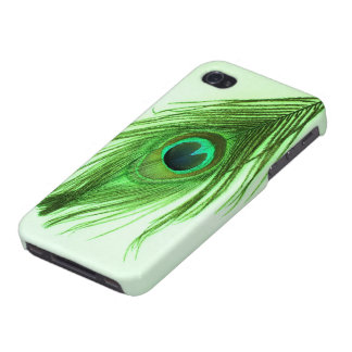 Green Peacock Feather on Green Case For iPhone 4