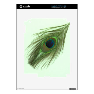 Green Peacock Feather on Green iPad 2 Decals