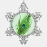 Green Peacock Feather on Green Ornaments