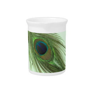 Green Peacock Feather P Beverage Pitcher