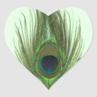 Green Peacock Feather P Heart Sticker