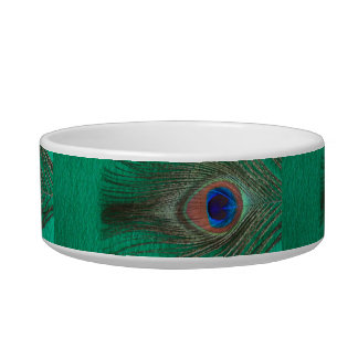 Green Peacock Feather Pet Bowl