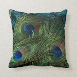 Green Peacock Feather Pillow