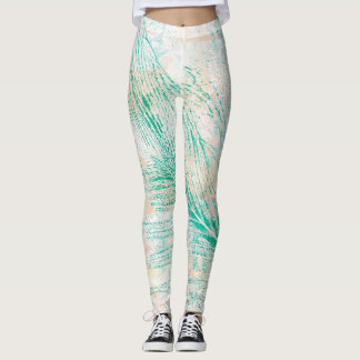 Green Peacock Feather Print Leggings