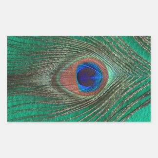 Green Peacock Feather Rectangular Sticker