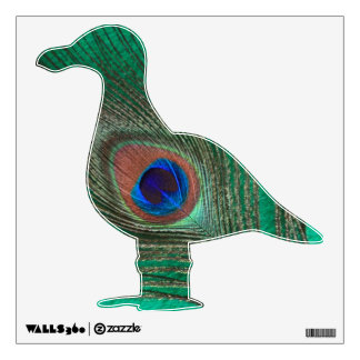 Green Peacock Feather Seagull Wall Decal