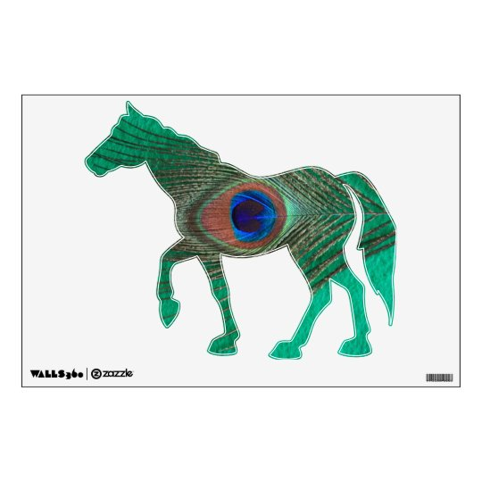 Green Peacock Feather Standing Horse Wall Decal
