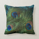 "Green Peacock Feather Throw Pillow<br><div class=""desc"">The vibrant green of the peacock feathers look stunning in this picture.  This still life of a peafowl is neat.</div>"