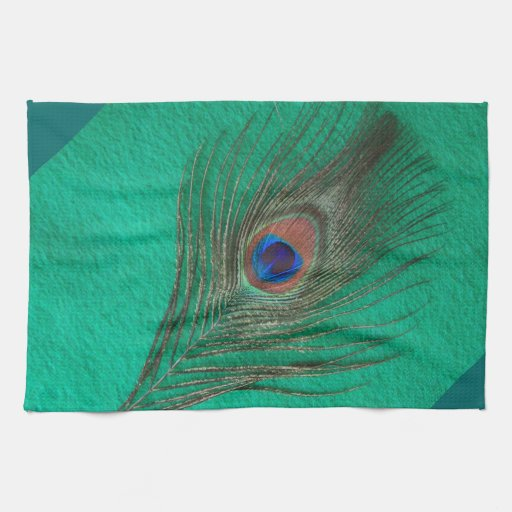Green Peacock Feather Towel