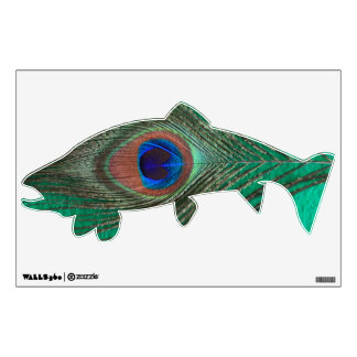 Green Peacock Feather Trout Wall Decal