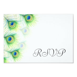Green Peacock Feather Wedding RSVP Reply Cards