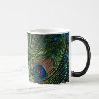 Green Peacock Feathers Magic Mug