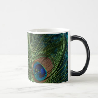 Green Peacock Feathers 11 Oz Magic Heat Color-Changing Coffee Mug