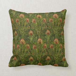 Green Peacock Feathers Pillow