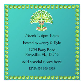 Green Peacock Lady Carnaval Invitations