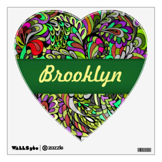 Green Peacock Multicolor Funky Paisley pattern Wall Sticker