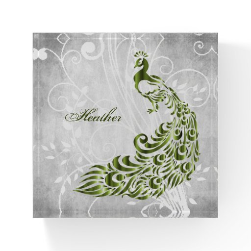 Green Peacock Personalized Paperweight