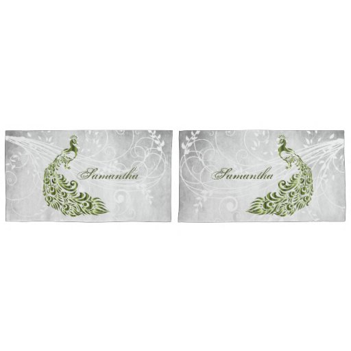 Green Peacock Personalized Pillowcases