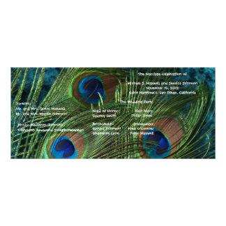 Green Peacock Wedding Program Custom Rack Cards