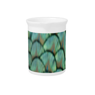 Green Peafowl Feathers Pitcher