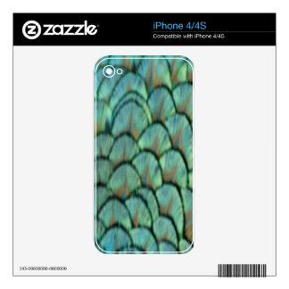 Green Peafowl Feathers Decal For iPhone 4