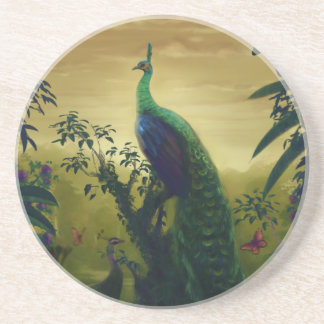 Green peafowl (Pavo muticus) Drink Coaster