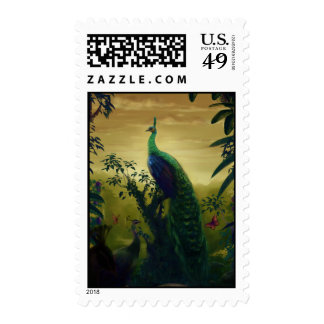 Green peafowl (Pavo muticus) Postage Stamp
