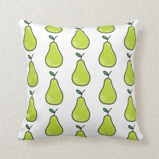 Green Pear Fruit Pattern Throw Pillow