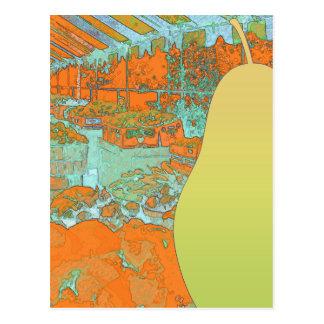 Green Pear Vibrant Market Postcard