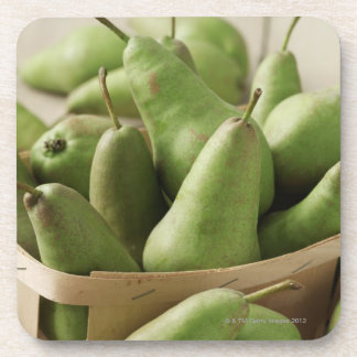 Green Pears in Punnet and Wooden Table Drink Coaster