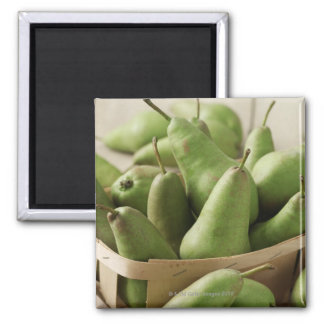 Green Pears in Punnet and Wooden Table Magnet