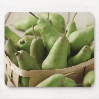 Green Pears in Punnet and Wooden Table Mouse Pad