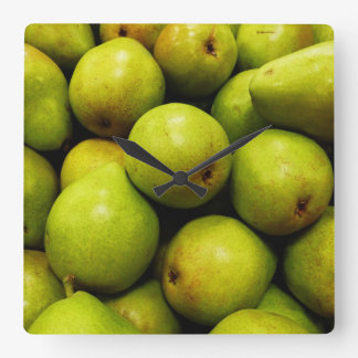 Green Pears Square Wall Clock