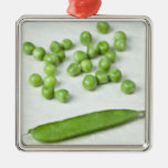 Green peas and husk ornaments