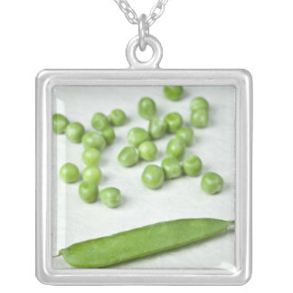 Green peas and husk silver plated necklace