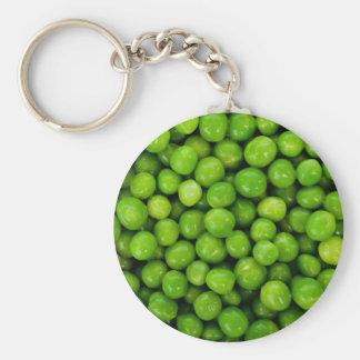 Green Peas Background Basic Round Button Keychain