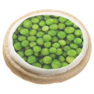 Green Peas Background Round Premium Shortbread Cookie