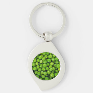Green Peas Background Silver-Colored Swirl Metal Keychain