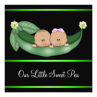 Green Peas In A Pod African American Gender Reveal Card