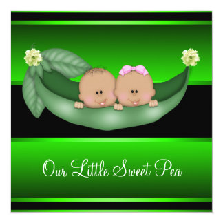 Green Peas In A Pod African American Gender Reveal Custom Announcement