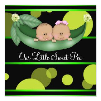 Green Peas In A Pod African American Gender Reveal Custom Invitations
