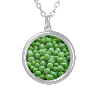 Green  Peas... Silver Plated Necklace