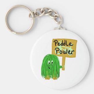 Green peddle power basic round button keychain
