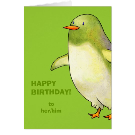 Green Penguin Greeting Card(customizable) Card