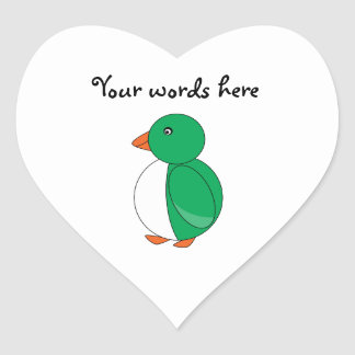 Green penguin heart sticker