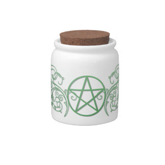 Green pentacle jar with lid candy jars