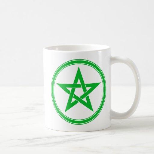 Green Pentacle Pentagram Coffee Mugs