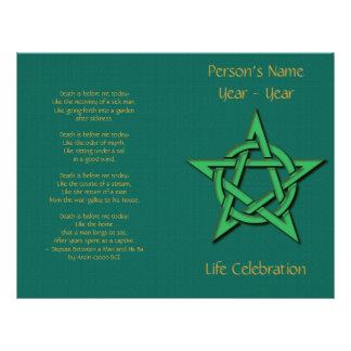 Green Pentacle Wiccan Funeral Program 2 Custom Flyer